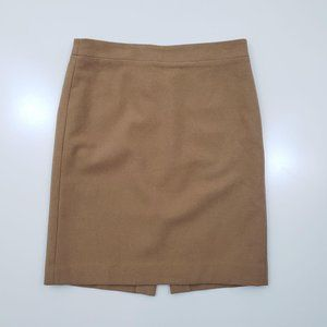 J Crew Camel Brown Wool Lined Pencil Skirt 6